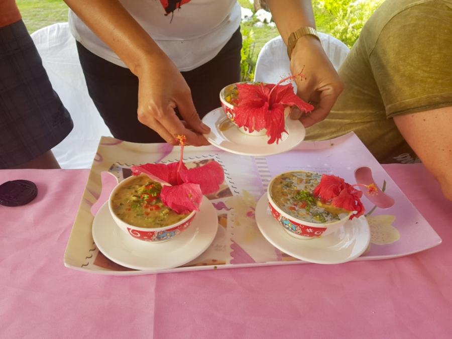 pierwsze zupki podane, w dodatku z hibiskusem